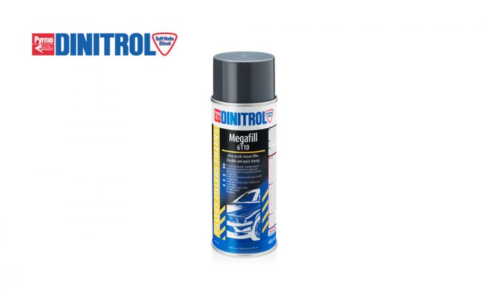 DINITROL-6110-MEGAFILL-Spray-dries-quickly--levelling-scratches-scrapes-minor-damage-grey-coloured-acrylic-resin-based-filler-car-vehicle-van-trucks