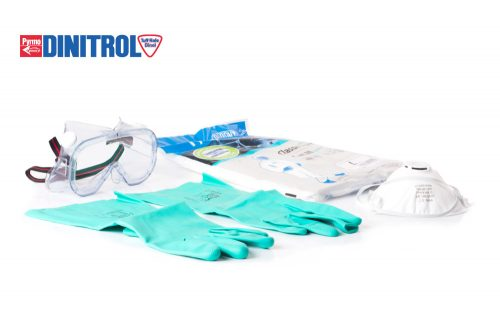 dinitrol personal protection kit googles tyvek classic expert overall dupont nitrile gloves starchem ffp2 dust mask PPE kit deal rustproofing