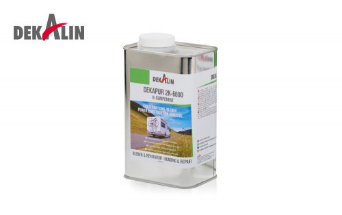 Dekapur 2K-6000 B-Component Power Construction Adhesive applied to plywood, fibreboard, sandwich panels, non porous synthetics and metals i.e. polyester, polystyrene foam , aluminium