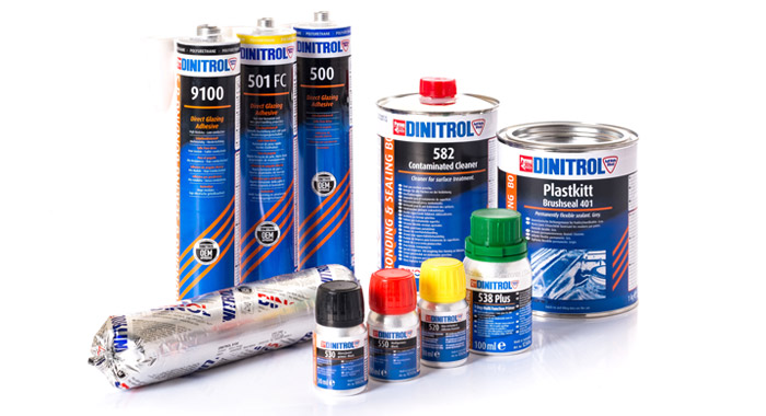 OEM approved DINITROL windscreen direct glazing adhesives, primers and activators for auto windscreen replacement