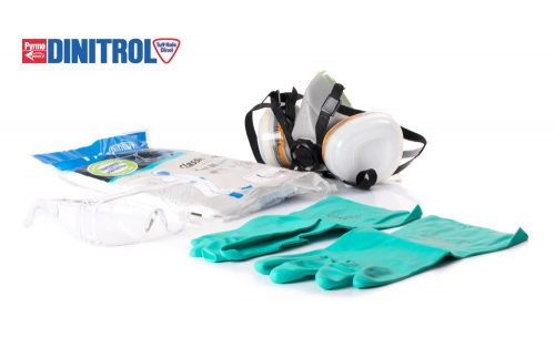 DINKIT1 dinitrol personal protection kit 1 tyvek classic xpert overall du pont breathable twin respirator mask dual cartridge nitrile gloves safety spectacles dinitrol uk kit deal