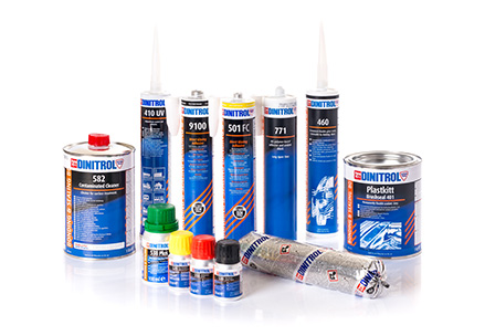 Bonding and sealing products including auto windscreen replacement adhesives including: DINITROL 500, DINITROL 501 FC-HM, DINITROL Activator and DINITROL 9100 for fast direct-glazing of automotive glasses
