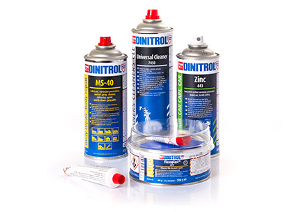 Car body repair products for automotive aftermarket includes: DINITROL Aluoft aluminum body filler, DINITROL Fibre Star fibreglass body filler and DINITROL Micro-fine vehicle body filler