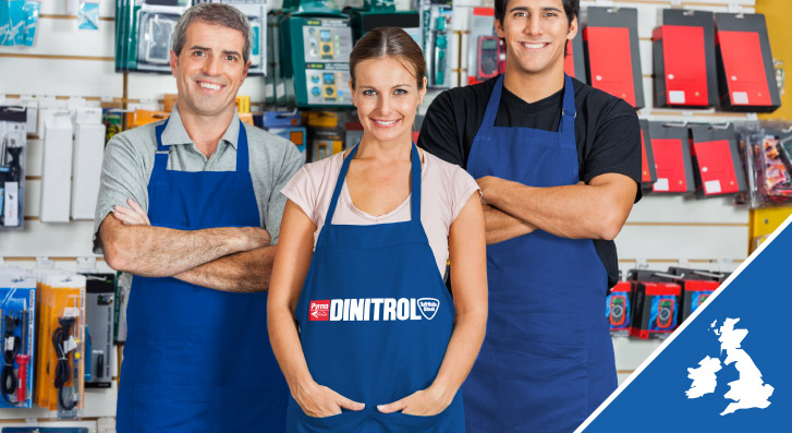 Find DINITROL retail stockists of corrosion protection, rust treatment, automotive body filler repair products across the UK
