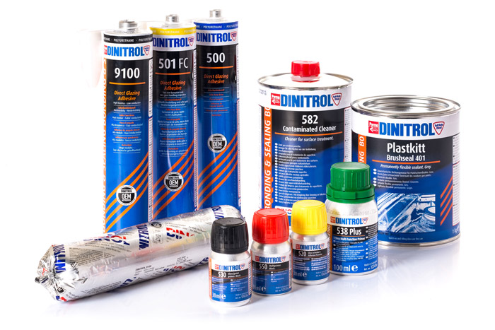 Automotive windscreen replacement direct glazing with DINITROL OEM approved bonding and sealing products for auto glass replacement. Auto windshield repair products