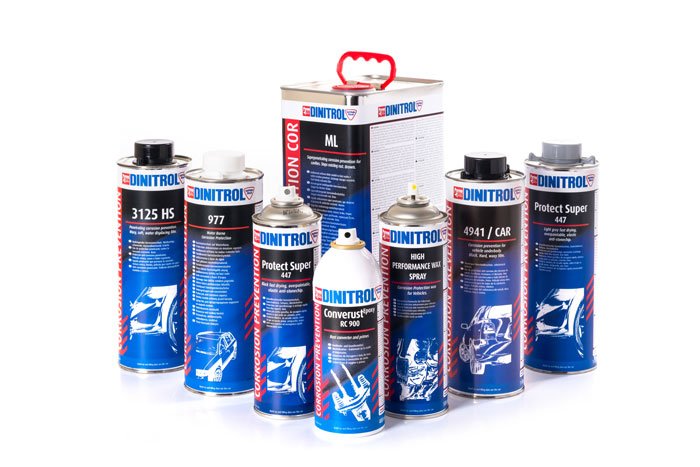 DINITROL vehicle rustproofing kits, corrosion protection, cavity waxes, rust prevention, RC900 rust convertors, 4941 Car underbody chassis coatings and Corroheat 4010 engine protection