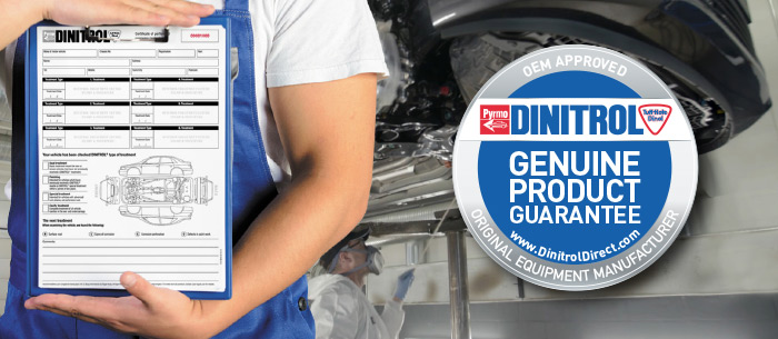 dinitrol rustproofing treatment certificate genuine product application rustproofing car classic car landrover 4x4 commercial vehicle hgv bus coach taxi minibus uk centres