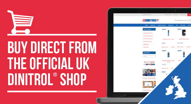 Purchase dinitrol products direct from official uk authorised supplier official UK DINITROL website ecommerce corrosion protection rust treatments vehicles OFFICIAL UK DINITROL website